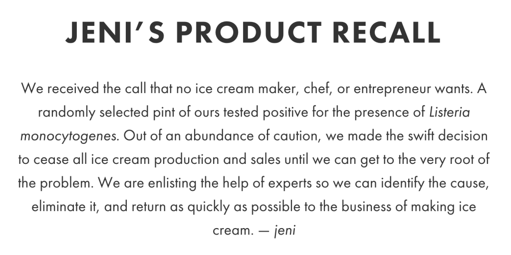 Jeni's Ice Cream Recall Statement
