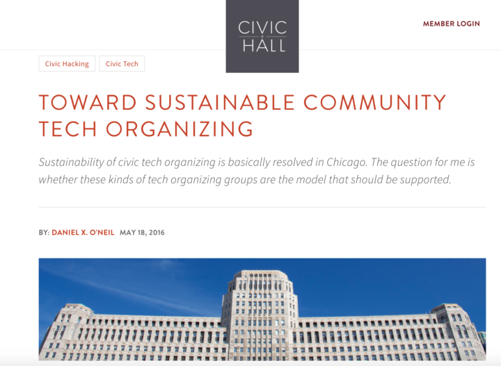 New post on Civicist: Toward Sustainability for Local Tech Organizing